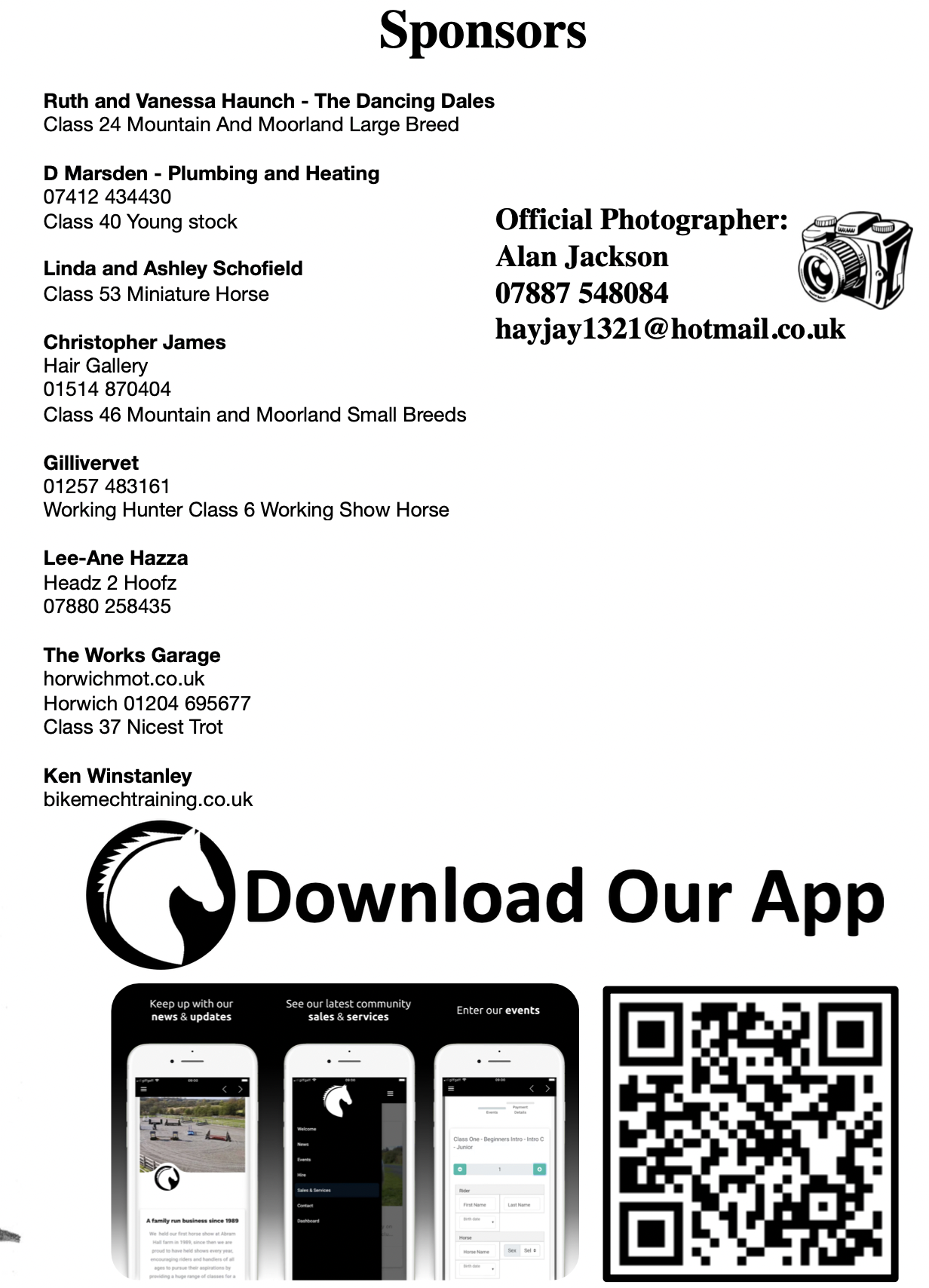 Thank you to o0ur sponsors for your support this season.